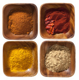 four ground up spices in wooden bowels isolated on white backgro poster