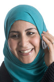 Muslim woman with a mobile phone poster