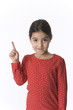 Little girl is raising her finger