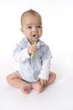 Baby boy pretending brushing his teeth poster