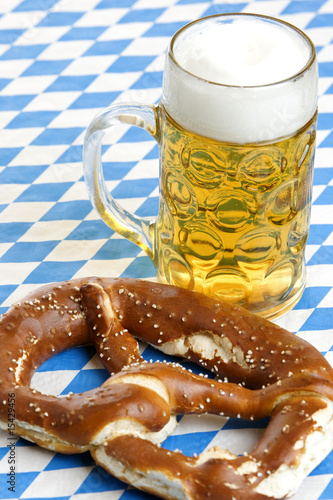 Bavarian Oktoberfest Pretzel and beer stein (mug)