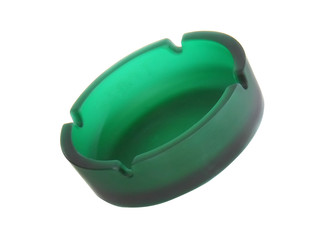 Green ashtray. Isolated