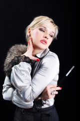 girl with fur and cigarette