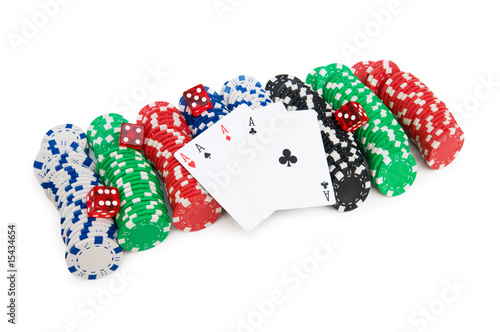 Casino chips and cards isolated on the white