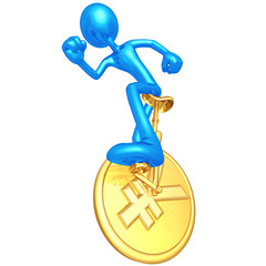 3D Character On Coin Unicycle