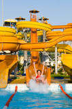 aquapark constructions in swimming-pool