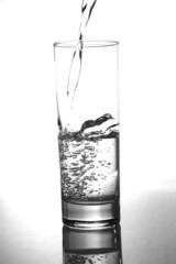 glass of pouring water with reflection
