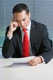 Smart eurasian business man browsing documents poster