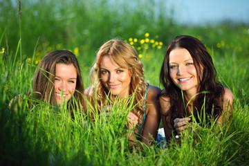 girlfriends on grass