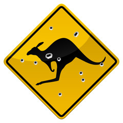 Kangaroo road sign with bullets impacts