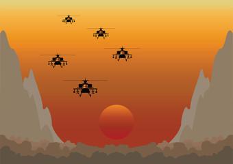 Dawn Raid Through Mountainous Valley
