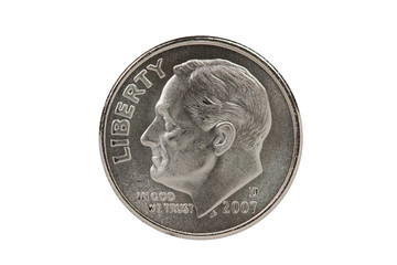 Franlkin Roosevelt dime coin with clipping path