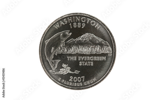 Washington State Quarter coin with clipping path