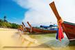 Tropical beach, long tail boats, Thailand