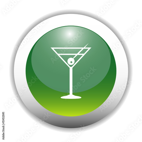Glossy Cocktail Drink Sign Button