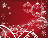 Christmas background with filigree balls poster