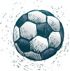 Rude soccer ball in engrave style
