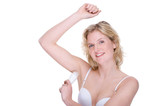 Woman with deodorant poster