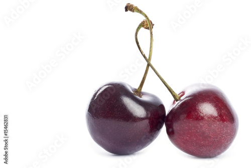 Two Bing Cherries Isolated on White