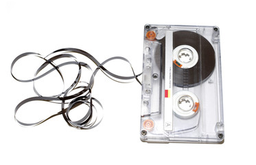 old audio tape on white background