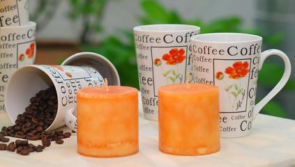 Kaffetassen - Kerzen - Dekoration