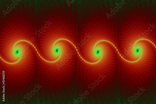 Foto Spatwand Fractal waves fractale en frise