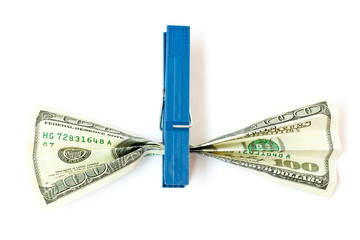 clothes peg with money