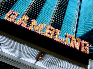 neon casino marquee with gambling sign