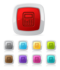 Vector glossy button in various color - Calculator