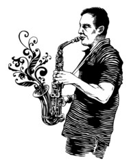 vector illustration with saxophonist