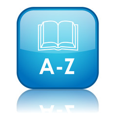 "Square ""A-Z"" button with reflection (blue)"