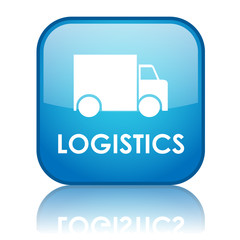 "Square ""LOGISTICS"" button with reflection (blue)"
