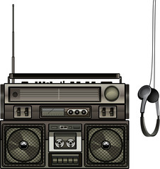 Boombox & Headphones