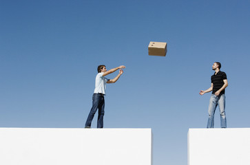 Man tossing cardboard box to man across gap outdoors with blue sky