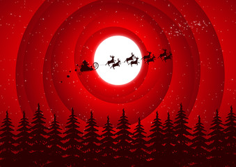 Santa Claus flying over the forest