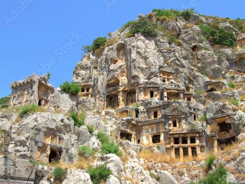 Leinwandbild Motiv Rock-cut lycian tombs in Demre (Myra), Turkey