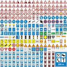 Trzy hundread wektor szczegółowe znaki drogowe Europejska