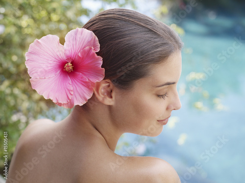 Woman with a flower in her hair
