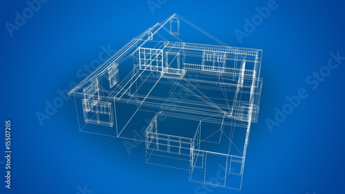 3d Wire Frame house