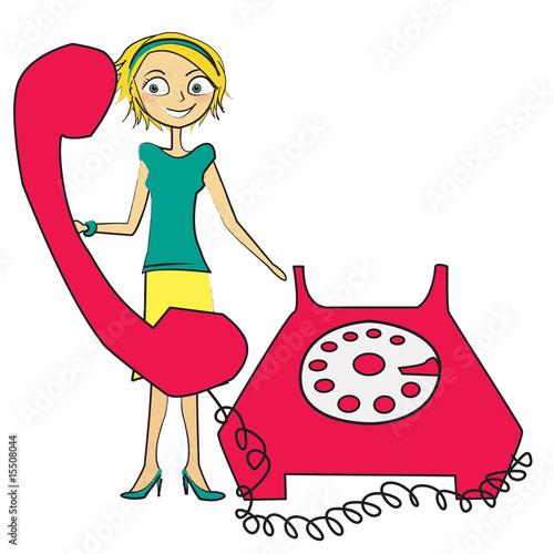 Femme t l phone fixe photo libre de droits sur la banque d 39 im - Acheter un telephone fixe ...