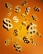 Dollar falling money concept