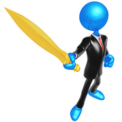 3D Businessman Character With Sword