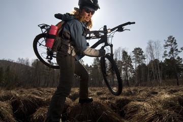 Biker in swampland