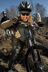 Bikers going in swampland