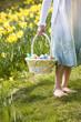 Young Girl Holding Basket Full Of Easter Eggs