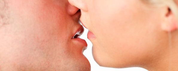 Closeup of couple kissing