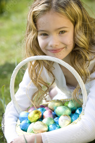 Portrait of Young Girl Holding Basket Full of Easter Eggs