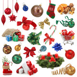 Fototapety Christmas collection isolated on white background