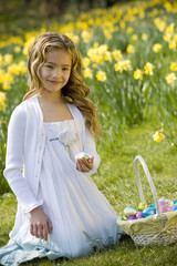 Young Girl Holding Easter Egg