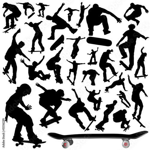 collection of skateboard vector